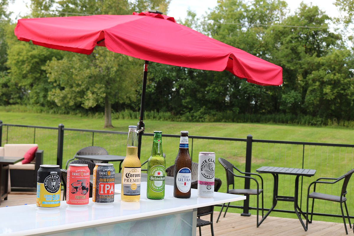 Beer lined up on deck